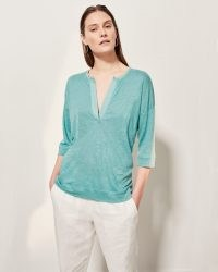 JIGSAW LINEN OPEN PLACKET TOP Seafoam