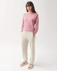 JIGSAW LINEN WIDE TRIM RAGLAN TEE Blossom Pink ~ long sleeve relaxed T-shirt