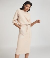 REISS LIZABETH LOUNGEWEAR SWEATSHIRT DRESS NEUTRAL / casual lounge dresses