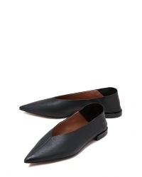 JIGSAW LOIS SOFT LEATHER FLAT / black point toe flats