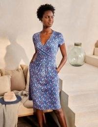 BODEN Lola Jersey Dress Moroccan Blue, Parakeets / bird print summer dresses