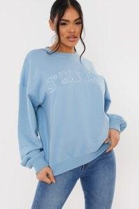 LORNA LUXE BLUE 'J'ADORE' APPLIQUE OVERSIZED FIT SWEATSHIRT ~ crewneck sweatshirts