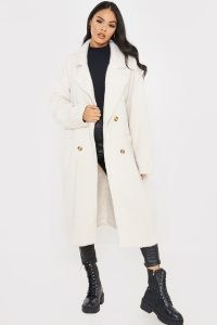 Celebrity inspired coats ~ LORNA LUXE OATMEAL 'ELIZABETH' BORROWED HIS FIT DOUBLE BREASTED COAT