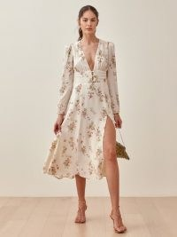 Reformation Lorne Dress | floral plunge front dresses with a thigh high split