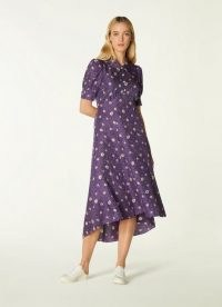 L.K. BENNETT LOTTA PURPLE DAISY SPOT PRINT SILK JACQUARD DRESS ~ floaty dip hem vintage style dresses