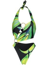 Louisa Ballou leaf-print cut-out swimsuit ~ glamorous asymmetric cutout swimsuits