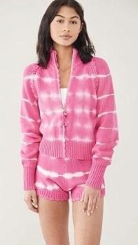 LoveShackFancy Florrie Zip Up Jacket Hibiscus Hand Dye / knitted loungewear / pink knit jackets