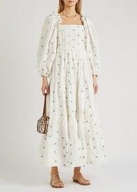 LUG VON SIGA Daphne floral-embroidered cotton maxi dress ~ romantic spring dresses ~