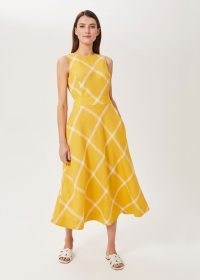 HOBBS LYDIA LINEN MIDI DRESS YELLOW / sleeveless checked fit and flare dresses