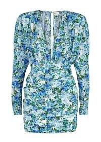 MAGDA BUTRYM Floral-print silk crepe de chine mini dress ~ plunge front bodycon
