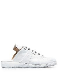 Maison Margiela Replica cut-out paint-effect sneakers / white open back trainers