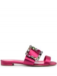 Manolo Blahnik crystal-embellished leather sandals / flat pink buckled mules