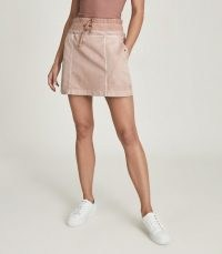 REISS MARA COTTON BLEND JERSEY MINI SKIRT BLUSH ~ sports luxe skirts
