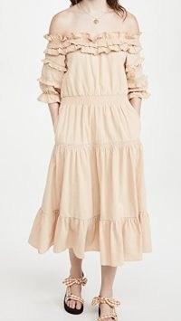 Meadows Blossom Dress – tiered dresses with ruffled bardot neckline