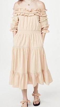 Meadows Blossom Dress – tiered dresses with ruffled bardot neckline - flipped