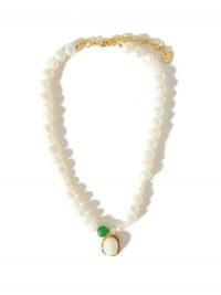 ANITA BERISHA Medallion pearl & 14kt gold-plated necklace ~ statement necklaces with pearls