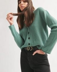 JIGSAW MERINO CASHMERE RIB CARDIGAN in Thyme ~ green ribbed V-neck button up cardigans