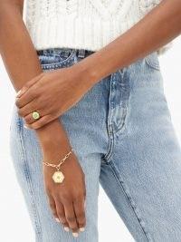 WILHELMINA GARCIA Daisy 18kt gold-vermeil charm bracelet | floral charms | chain link bracelets