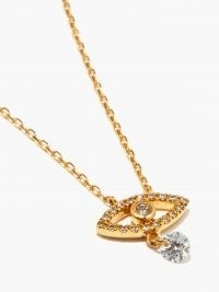 PERSEE Evil Eye diamond & 18kt gold necklace / small luxe pendant necklaces