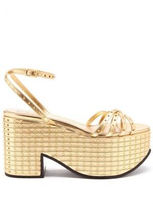 VALENTINO GARAVANI Micro-studded nappa-leather platform sandals – luxe metallic gold platforms – 70s style evening shoes - flipped