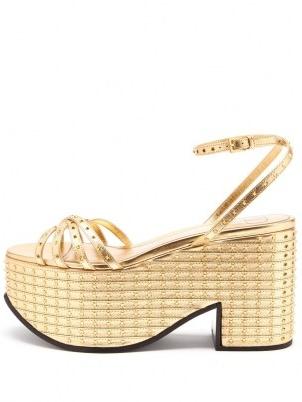 VALENTINO GARAVANI Micro-studded nappa-leather platform sandals – luxe metallic gold platforms – 70s style evening shoes