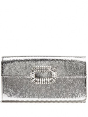 ROGER VIVIER Sexy Choc embellished silver-leather cross-body bag – metallic crossbody bags - flipped