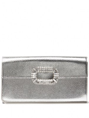 ROGER VIVIER Sexy Choc embellished silver-leather cross-body bag – metallic crossbody bags
