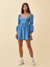 Reformation Michaela Dress | blue square neck dresses with a double puff sleeve detail