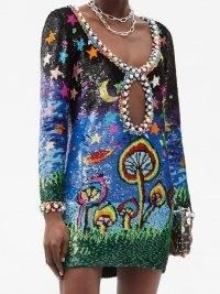 ASHISH Midnight Mushrooms cutout sequinned mini dress ~ scoop neck faux pearl trim party dresses