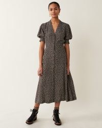JIGSAW MINI PETALS FLORAL TEA DRESS / short puff sleeve dresses