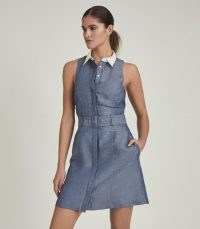REISS MIRA CONTRAST COLLAR MINI DRESS BLUE / sleeveless, linen blend shirt style silhouette, with a racer back detail and belted waist.