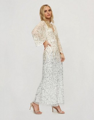 Miss Selfridge Petite maxi sequin dress with open back detail in gold / sparkling long length occasion dresses with wide sheer sleeves - flipped
