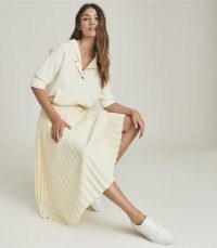 Reiss MOLLY PLEATED MIDI SKIRT YELLOW | wardrobe essential | skirts for spring