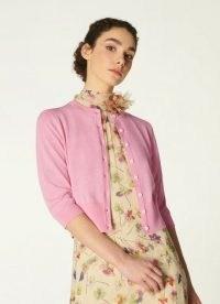 L.K. BENNETT MONICA PINK COTTON-SILK CARDIGAN ~ classic button up cardigans