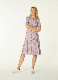 L.K. BENNETT MONTANA LILAC ANEMONE PRINT SILK TEA DRESS ~ vintage style floral dresses