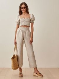 Reformation Mora Linen Two Piece | smocked puff sleeve crop tops | summer top and trouser set | fashion sets