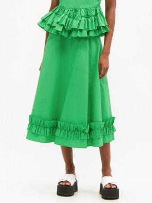 MOLLY GODDARD Morgan frilled cotton midi skirt / green ruffle hem skirts – women's summer clothing