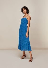 WHISTLES KINETIC STRAPPY PLEATED DRESS / blue spaghetti strap summer dresses