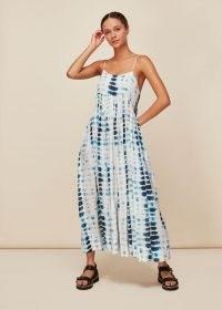 Whistles TIE DYE BEACH CARMEN DRESS   strappy sundress   skinny strap summer dresses