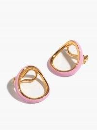 CHARLOTTE CHESNAIS Naho pink enamel & 18kt gold-vermeil clip earrings