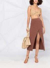 Nanushka Ainsley terry-knit wrap skirt nutmeg brown | open front skirts