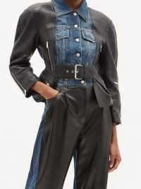 ALEXANDER MCQUEEN Nappa leather and denim basque jacket ~ cinched waist jackets