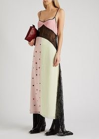 NATASHA ZINKO Printed lace-panelled maxi dress ~ feminine slip dresses ~ spaghetti strap evening wear