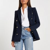 RIVER ISLAND Navy fitted double breasted blazer ~ dark blue blazers ~ chic jackets