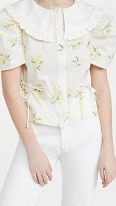 Naya Rea Emily Blouse – romantic floral blouses – frill trim oversized collars - flipped