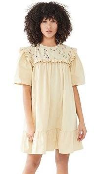 Naya Rea Mara Dress with Side Pockets Pale Yellow – frill trim dresses