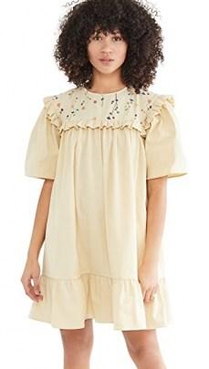 Naya Rea Mara Dress with Side Pockets Pale Yellow – frill trim dresses - flipped