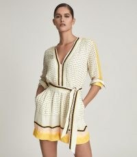 REISS NAYA SCARF PRINT PLAYSUIT YELLOW ~ chic summer playsuits