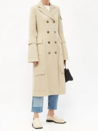 JW ANDERSON Flap-pocket double-breasted wool coat / tailored beige flared sleeve coats