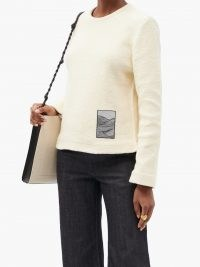 JIL SANDER Jacquard-patch knitted cotton sweater in cream